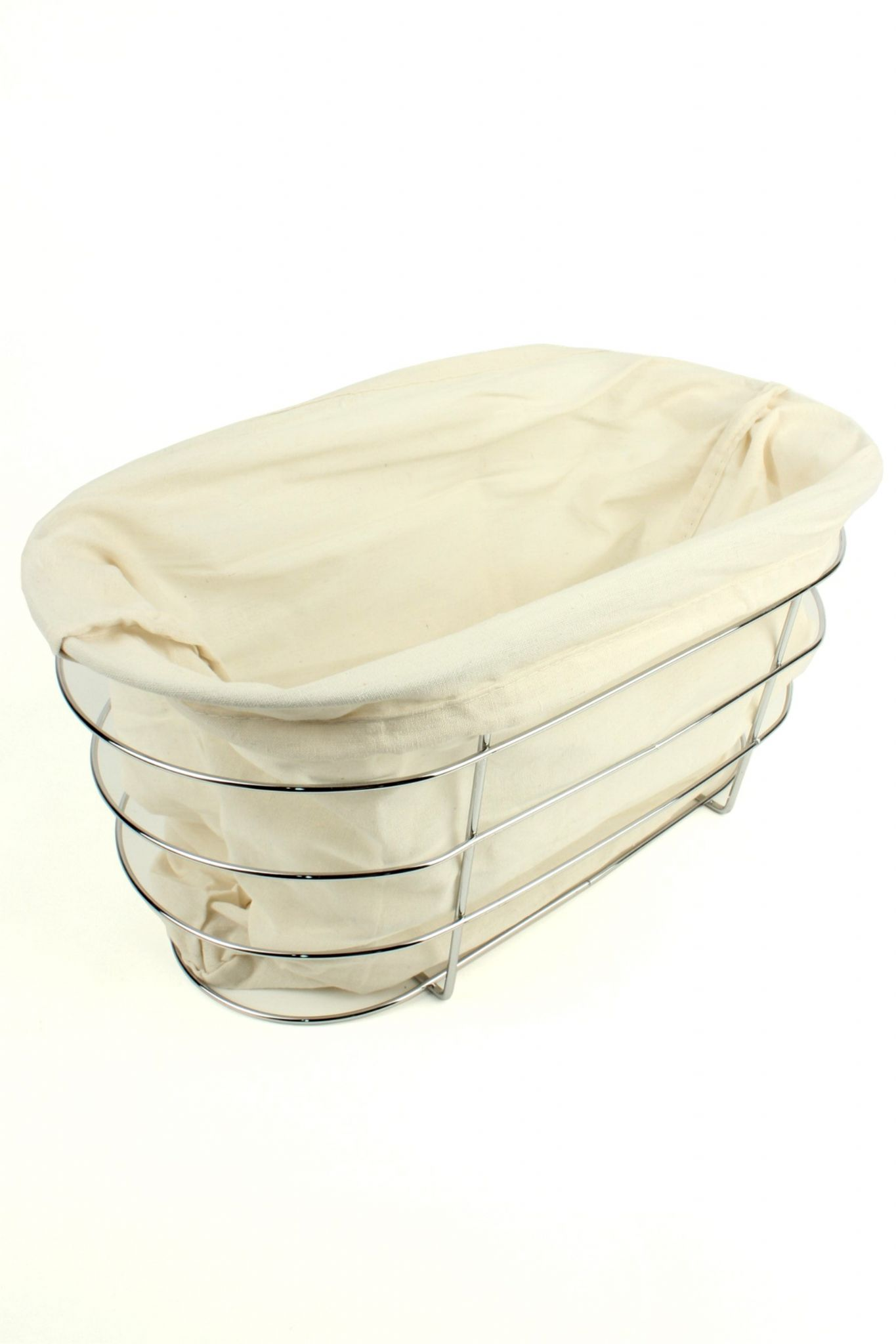Wire Bread Basket With Fabric Liner and Bamboo Wood Chopping Board Lid